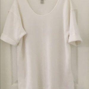 💜#7 Oversized light cream tricot tee shirt.